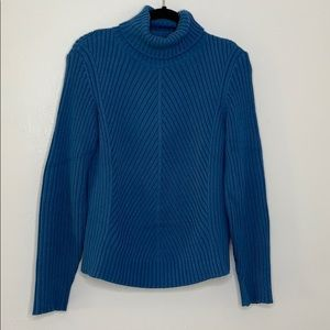 Ann Taylor blue cable knit cotton ribbed sweater L